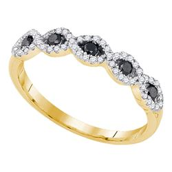 0.35 CTW Black Color Diamond Ring 10KT Yellow Gold - REF-19X4Y