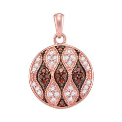 0.33 CTW Red Color Diamond Circle Pendant 10KT Rose Gold - REF-20X9Y