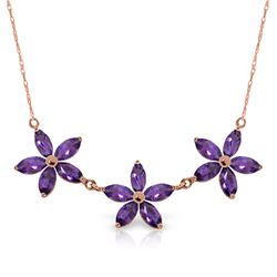Genuine 4.2 ctw Amethyst Necklace Jewelry 14KT Rose Gold - REF-58Y2F