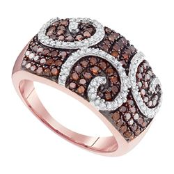 0.90 CTW Red Color Diamond Swirl Fashion Ring 10KT Rose Gold - REF-44H9M