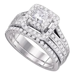 1.47 CTW Princess Diamond Bridal Engagement Ring 14KT White Gold - REF-209N9F