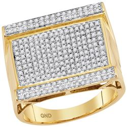 0.90 CTW Mens Diamond Rectangle Cluster Ring 10KT Yellow Gold - REF-67X4Y