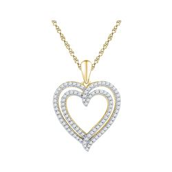 0.50 CTW Diamond Double Heart Pendant 10KT Yellow Gold - REF-32F9N