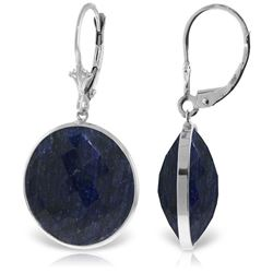 Genuine 46 ctw Sapphire Earrings Jewelry 14KT White Gold - REF-62R3P