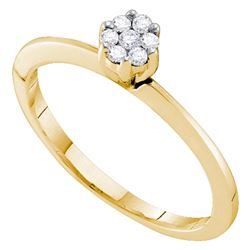 0.12 CTW Diamond Cluster Bridal Engagement Promise Ring 10KT Yellow Gold - REF-13F4N