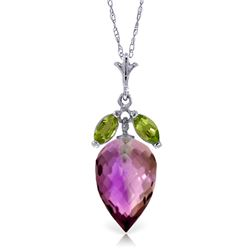 Genuine 10 ctw Amethyst & Peridot Necklace Jewelry 14KT White Gold - REF-28P9H