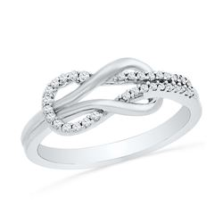 0.16 CTW Diamond Double Lasso Infinity Ring 10KT White Gold - REF-19N4F