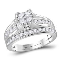 0.92 CTW Diamond Princess Bridal Engagement Ring 10KT White Gold - REF-59X9Y