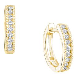 0.25 CTW Diamond Simple Milgrain-Hoop Earrings 10KT Yellow Gold - REF-22N4F