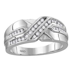 0.26 CTW Mens Diamond Two Row Wedding Anniversary Ring 10KT White Gold - REF-37M5H