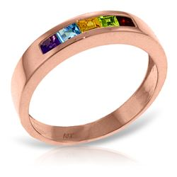 Genuine 0.60 ctw Multi-gemstones Ring Jewelry 14KT Rose Gold - REF-46R2P