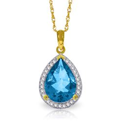 Genuine 4.66 ctw Blue Topaz & Diamond Necklace Jewelry 14KT Yellow Gold - REF-70V6W