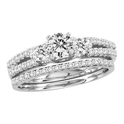 1 CTW Diamond Bridal Wedding Engagement Ring 14KT White Gold - REF-132K2W