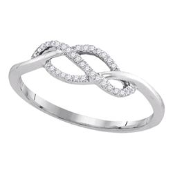 0.10 CTW Diamond Crossover Strand Ring 10KT White Gold - REF-13K4W