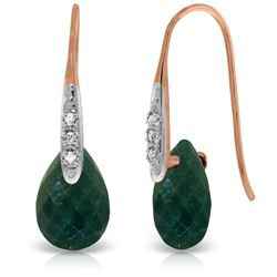 Genuine 8.06 ctw Created Green Sapphire & Diamond Earrings Jewelry 14KT Rose Gold - REF-60R3P
