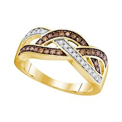 0.35 CTW Cognac-brown Color Diamond Crossover Ring 10KT Yellow Gold - REF-26H9M