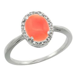 Natural 1.17 ctw Coral & Diamond Engagement Ring 14K White Gold - REF-26G3M