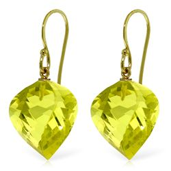 Genuine 21.5 ctw Quartz Lemon Earrings Jewelry 14KT Yellow Gold - REF-33X7M