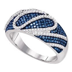 0.60 CTW Blue Color Diamond Playful Ring 10KT White Gold - REF-57N2F