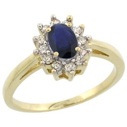 Natural 0.86 ctw Blue-sapphire & Diamond Engagement Ring 10K Yellow Gold - REF-46W7K