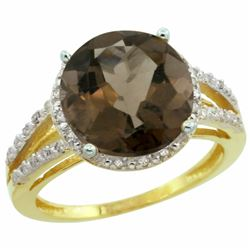 Natural 5.34 ctw Smoky-topaz & Diamond Engagement Ring 10K Yellow Gold - REF-35G4M