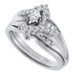 0.52 CTW Marquise Diamond Bridal Engagement Ring 14KT White Gold - REF-64Y4X
