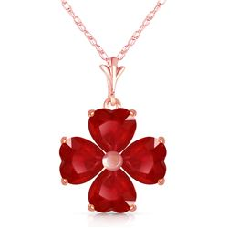 Genuine 3.6 ctw Ruby Necklace Jewelry 14KT Rose Gold - REF-52K2V