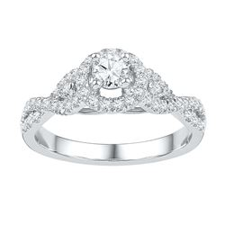 0.50 CTW Diamond Solitaire Bridal Engagement Ring 14KT White Gold - REF-75W2K