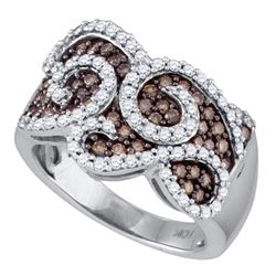 1 CTW Cognac-brown Color Diamond Swirled Cocktail Ring 10KT White Gold - REF-82N4F