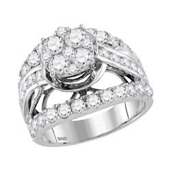3.01 CTW Diamond Cluster Bridal Engagement Ring 14KT White Gold - REF-262Y4X