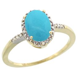 Natural 1.2 ctw Turquoise & Diamond Engagement Ring 10K Yellow Gold - REF-18M9H