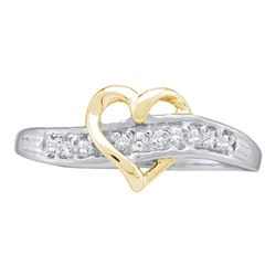 0.05 CTW Diamond Heart Love Ring 10KT White Gold - REF-8F9N
