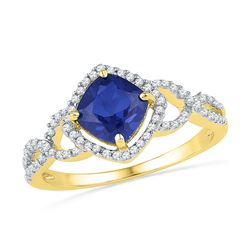 1.1 CTW Princess Created Blue Sapphire Solitaire Diamond Ring 10KT Yellow Gold - REF-24Y2X