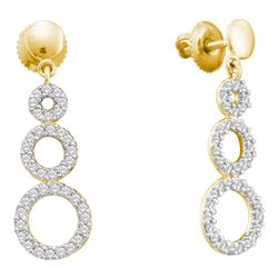 0.40 CTW Diamond Triple Circle Screwback Dangle Earrings 14KT Yellow Gold - REF-41Y9X