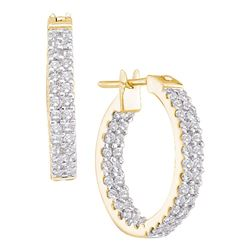 1 CTW Diamond In/Out Double Row Hoop Earrings 14KT Yellow Gold - REF-94H4M