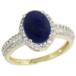 Natural 1.95 ctw Lapis & Diamond Engagement Ring 10K Yellow Gold - REF-30A2V