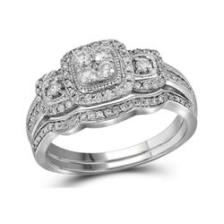 0.50 CTW Diamond Bridal Wedding Engagement Ring 14KT White Gold - REF-71X9Y