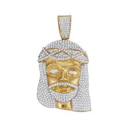2.55 CTW Mens Diamond Jesus Head Pendant 10KT Yellow Gold - REF-142K4W