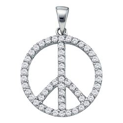 0.75 CTW Diamond Peace Sign Circle Pendant 14KT White Gold - REF-52N4F