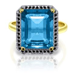 Genuine 7.8 ctw Blue Topaz & Black Diamond Ring Jewelry 14KT Yellow Gold - REF-81Z5N