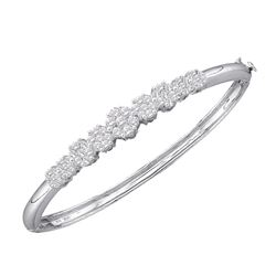 2 CTW Diamond Bangle Bracelet 14KT White Gold - REF-322Y3X
