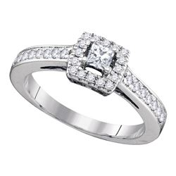 0.49 CTW Princess Diamond Solitaire Bridal Engagement Ring 14KT White Gold - REF-71W9K