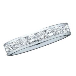 1 CTW Diamond Single Row Wedding Ring 14KT White Gold - REF-134F9N
