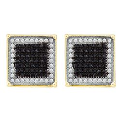 0.90 CTW Mens Black Color Diamond Square Cluster Earrings 10KT Yellow Gold - REF-37K5W