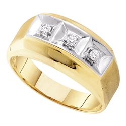 0.09 CTW Mens Diamond 3-stone Two-tone Wedding Ring 10KT Yellow Gold - REF-22M4H