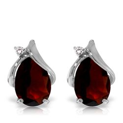 Genuine 4.06 ctw Garnet & Diamond Earrings Jewelry 14KT White Gold - REF-49R3P