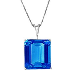 Genuine 7 ctw Blue Topaz Necklace Jewelry 14KT White Gold - REF-35H9X