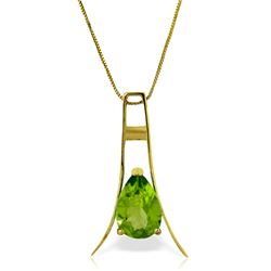 Genuine 1.50 ctw Peridot Necklace Jewelry 14KT Yellow Gold - REF-35R4P