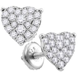 0.72 CTW Diamond Heart Screwback Stud Earrings 10KT White Gold - REF-44F9N