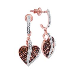 0.33 CTW Red Color Diamond Heart Dangle Screwback Earrings 10KT Rose Gold - REF-43F4N